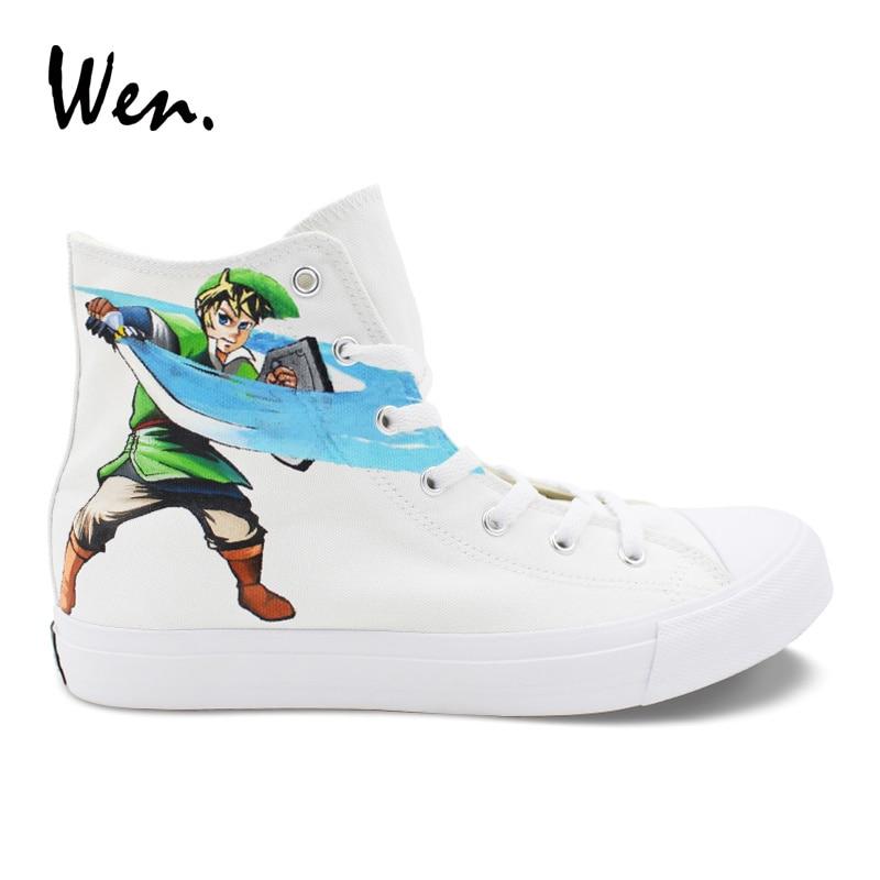 Wen Design Hand Painted Shoes Legend of Zelda Custom Casual Flat Shoes White High Top Men Women Canvas Sneakers Teens Plimsolls стоимость
