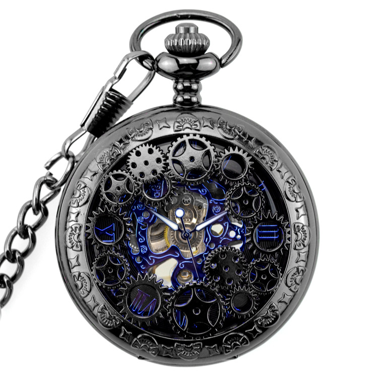 Black Steel Mechanical Pocket Watch Steampunk Vintage Gear Analog Skeleton Hand Winding Mechanical Pocket Watch цена и фото
