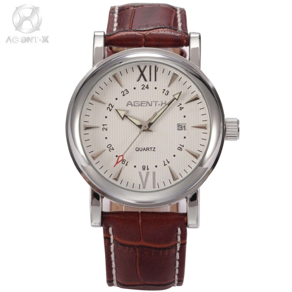 Original AGENTX Day Display Silver Stainless Steel Case Leather Strap Male Wristwatch Clock Men Business Quartz Watch / AGX015 stainless steel cuticle removal shovel tool silver