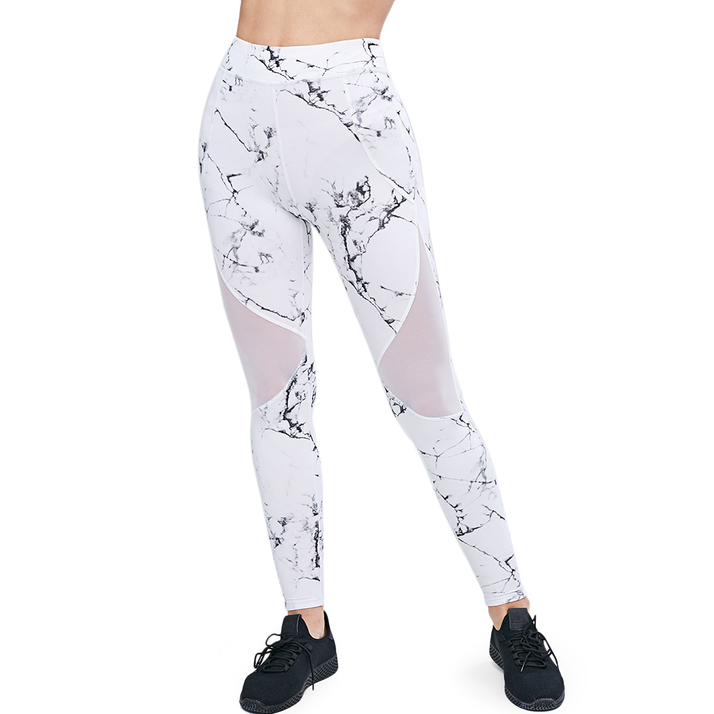 ZAFUL High Waist Marble Print Leggings Women Gym Pants