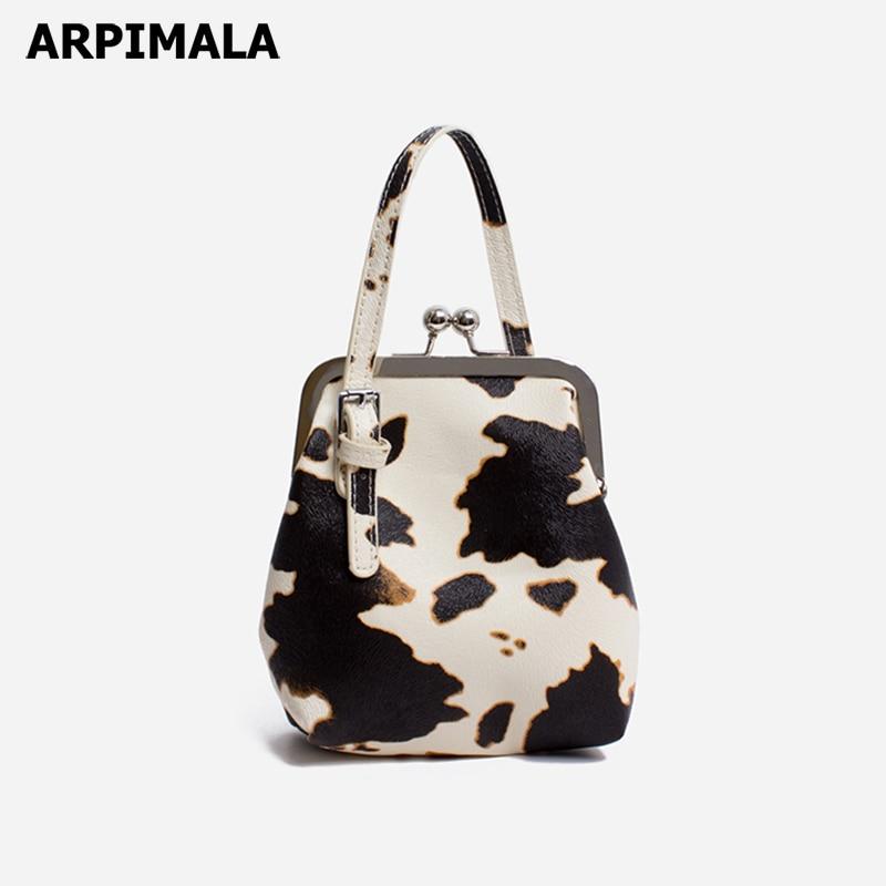 Arpimala Kuh Druck Umhängetaschen Für Frauen 2019 Sommer Clip Tasche Kleine Leder Tote Tasche Tier Haut Handtaschen Mädchen Hand Tasche Geschenk 100% Garantie