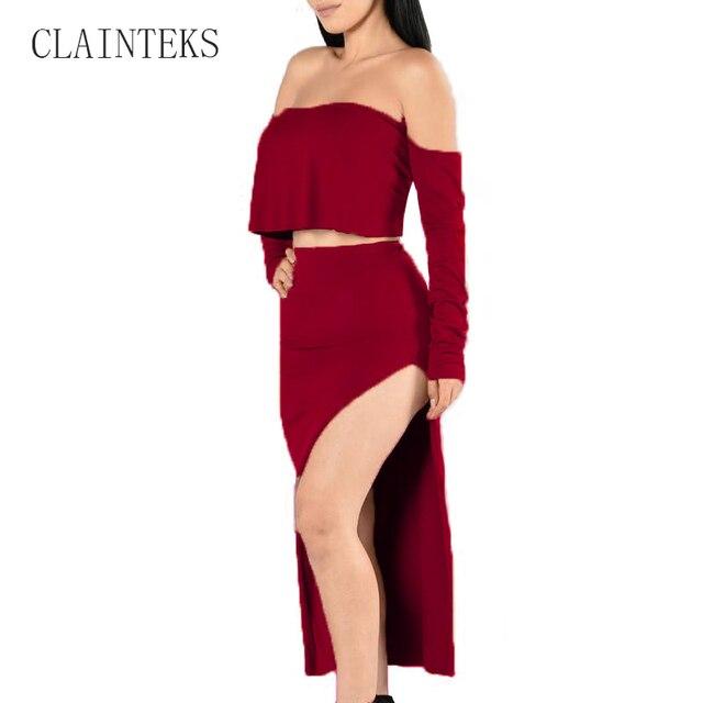 4f967e230c0 CLAINTEKS Ropa Mujer Faldas Conjunto de Dos Piezas de Ropa Slash Cuello Camisa  corta Y Larga