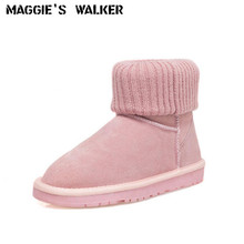 Free Shipping Women's Fashion Genuine Leather Snow Boots High Platform Winter Ankle Boots With Plush Lining  Size35-41 цена