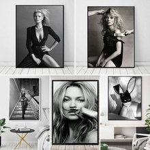 Kate Moss Moustache Fashion Poster Canvas Art Prints Supermodel Woman Portrait A4 Wall Pictures For Living Room Decor