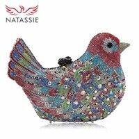 NATASSIE Noite Das Mulheres Sacos Bolsa Feminina Garras Partido Senhoras Saco de Embreagem de Casamento De Cristal pássaro