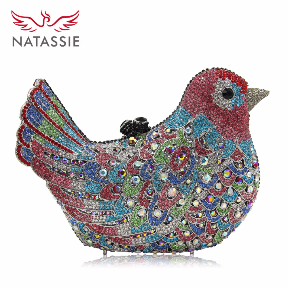 NATASSIE Women Evening Bags Crystal bird Purse Female Clutches Ladies Party Bag Wedding Clutch colourful bird women evening luxury bags crystal clutches laides evening bag female party hard case bags wedding clutch purses