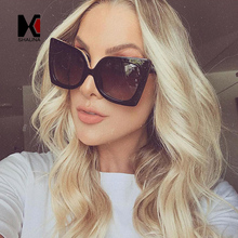 SHAUNA Oversize Women Cat Eye Sunglasses Brand Designer Black Frame Ladies Gradient Lens Glasses Frame UV400