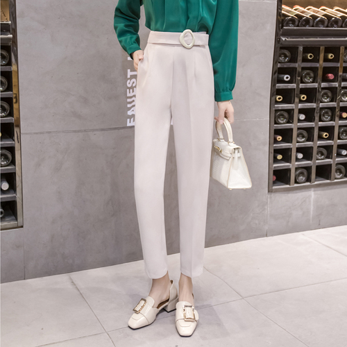 2018 Summer Spring Style Harem   Pants     Capris   High Waist Trousers For Women Fashion Office Lady Temperament Ankle-length   Pants