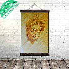 Toile de peinture à défilement de bouddha, visage vague, affiche Vintage et imprimés, photos d'art murales, salon chambre à coucher, décoration de ferme