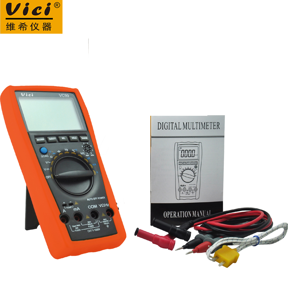 Vici VC99 3 6/7 Auto range digital multimeter voltmeter ammeter & Thermal Couple TK cable ACV/DCV/ACA/DCA vc99 auto range 3 6 7 digital multimeter 20a resistance capacitance meter voltmeter ammeter alligator probe thermal couple tk