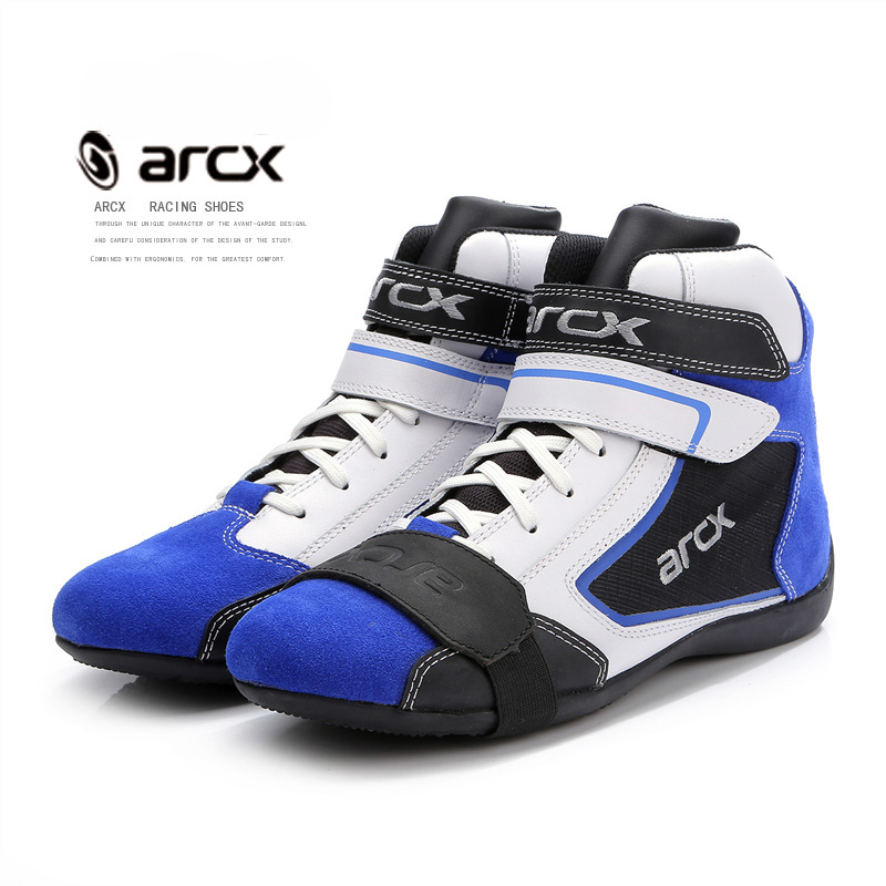 NEW ARCX Men s Motorcycle Boots Leisure Blue bottes moto Leather motorboats Street Moto Racing Ankle