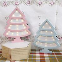 Room Event Decoration Gifts Wooden Lovely LED Marquee Sign Light Indoor XMAS Tree Wall Lamp Decorative Night Light IY304123 46