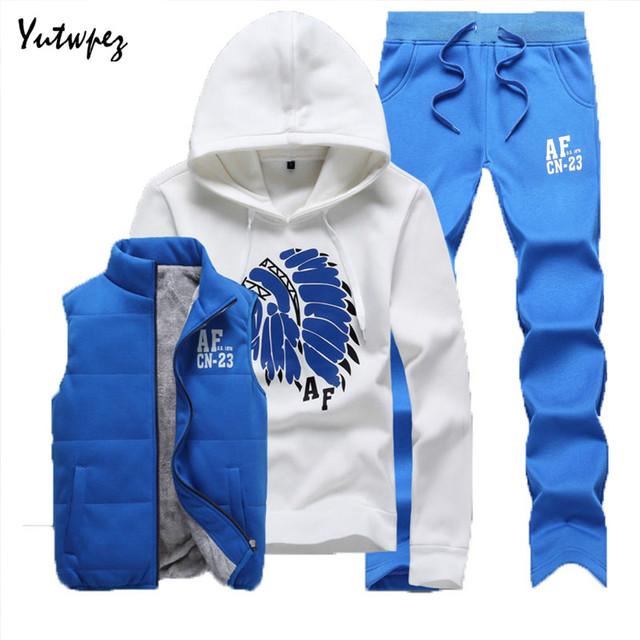 Casual Warm Track suit Men Winter Thick Fleece Hoodies Mens Tracksuit Set Jacket Vest Pants Male Sweatsuit Clothing Set 2019