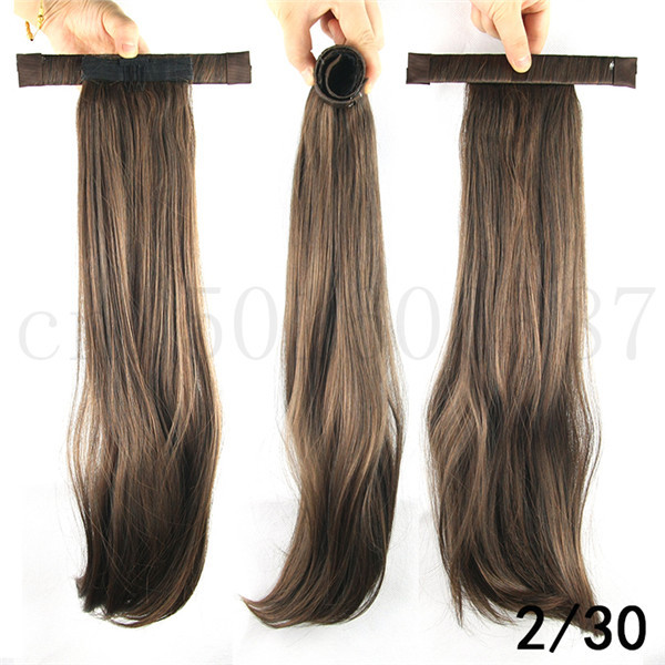 Superb 52Cm 20 5Inch Straight Ponytails With Hair Band Synthetic Short Hairstyles For Black Women Fulllsitofus