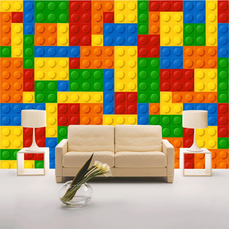 Custom Wall Cloth 3D Colorful Toy Blocks Lego Bricks Wall Covering Wallpaper For Kids Room Backdrop Wall Home Decor Large Mural