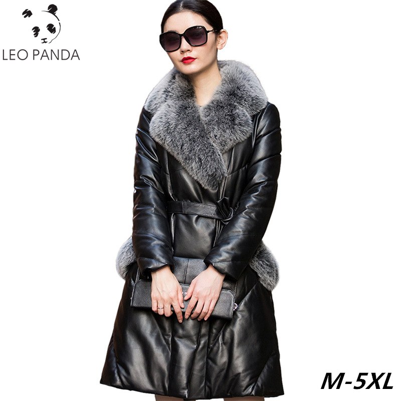 eb9cd592ab4ff Aliexpress.com   Buy Genuine Leather Jackets Women Down Jacket Fox Fur  Collor White Duck Down Winter Black Sheepskin Real Coat Plus Size Female  Parka from ...