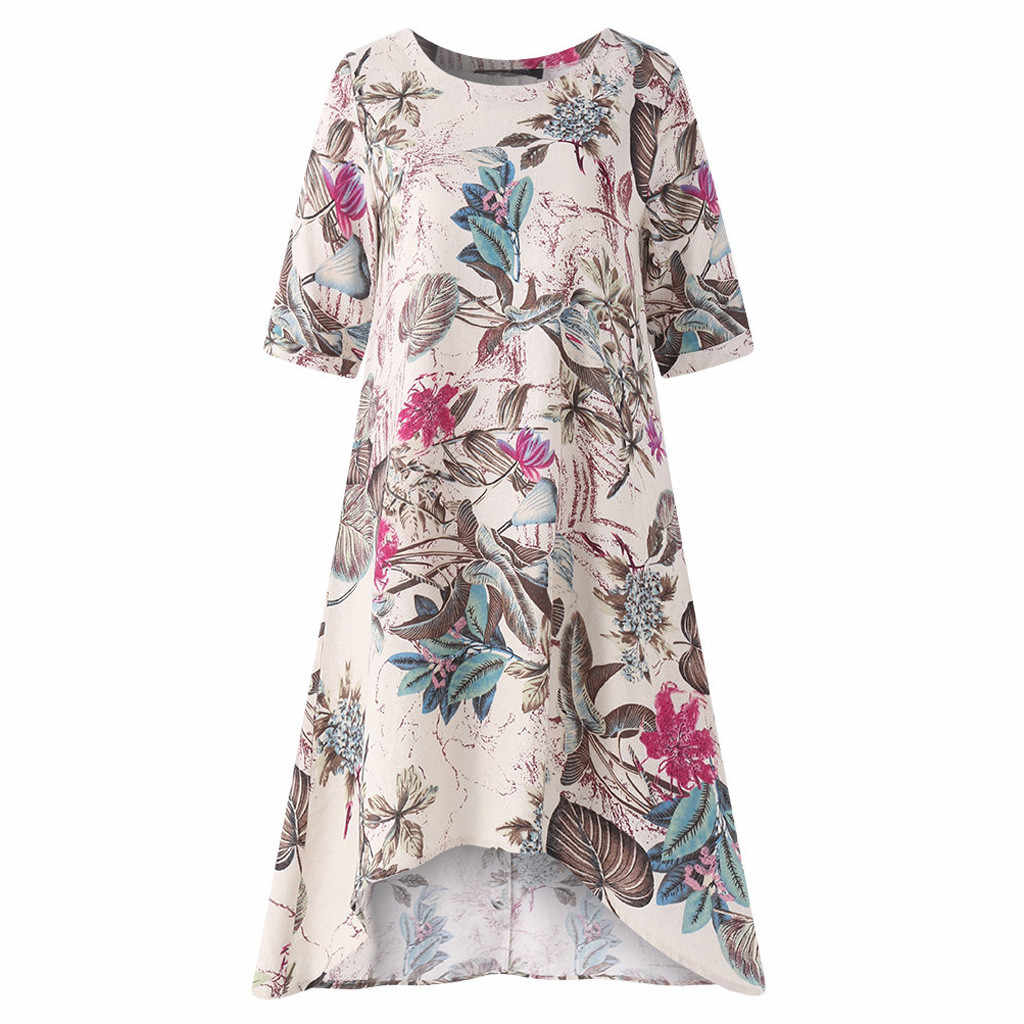 feitong Womens O-Neck Tunic Sundress Loose Mini Party Dresses Casual Floral  Printed Short Sleeve de3b83f2691c
