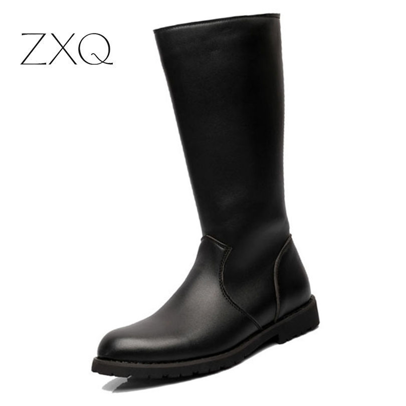 цены ZXQ Over Knee High Boots Mens Military Boots PU Leather Men Long Waterproof Snow Boots Equestrian Motorcycle Boots