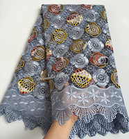 5 Yards Grey Orange Floral Wax Embroidery African French Lace Tulle Lace Real Super Wax Print
