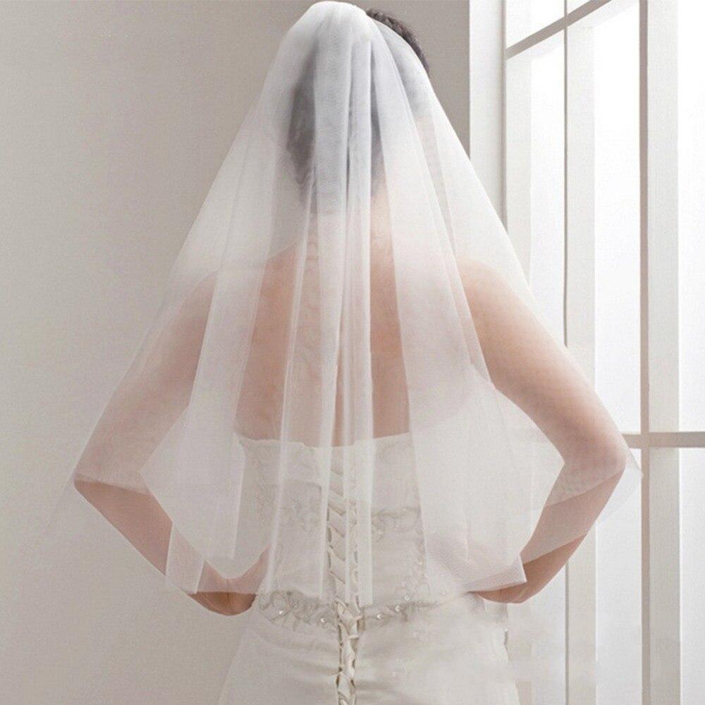 Bridal Veil Wedding-Veils Short Tulle Ivory White Cheap Simple Mariage