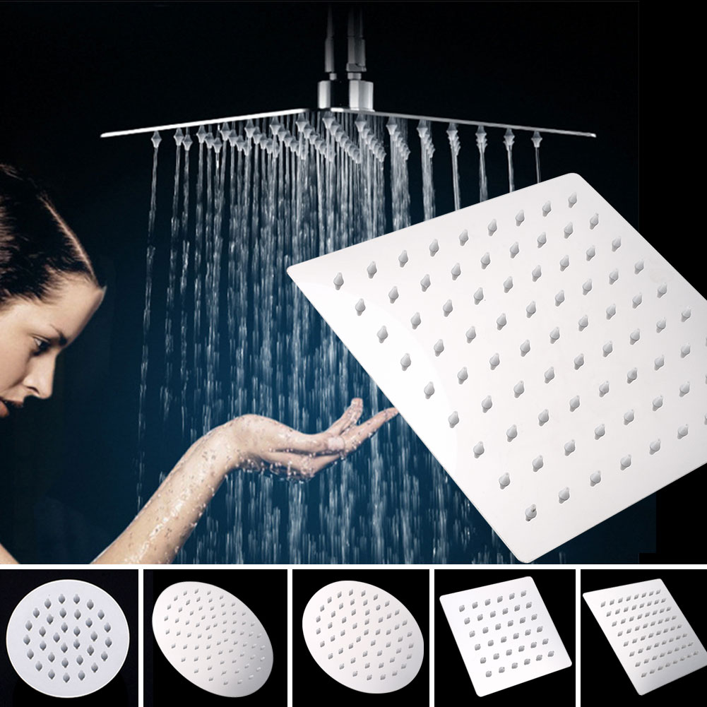 1PC 4/6/8 Inch Showerhead Round/Square 201 Stainless Steel Shower Head Bathroom Shower Head Rain Ultrathin Shower Head Top Spray