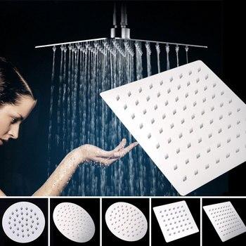 цена на 1PC 4/6/8 Inch Showerhead Round/Square 201 Stainless Steel Shower Head Bathroom Shower Head Rain Ultrathin Shower Head Top Spray