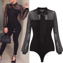 Women Lady Long Sleeves Tulle Bodysuit Skinny Leotard Sleepwear Tops Jumpsuit Black See through Summer Clothing