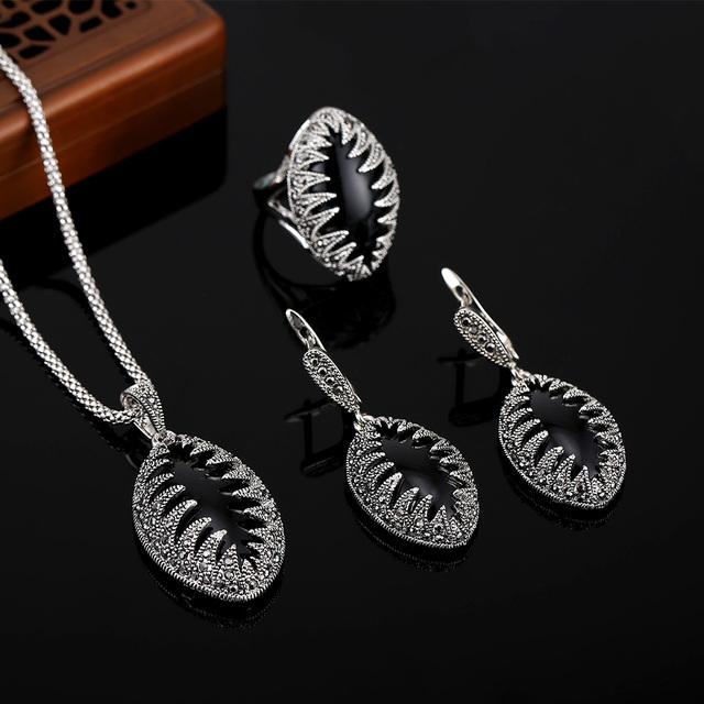 Hensen novo Design Hight qualidade de prata antigo banhado jóias turco preto Vintage conjuntos de jóias de resina