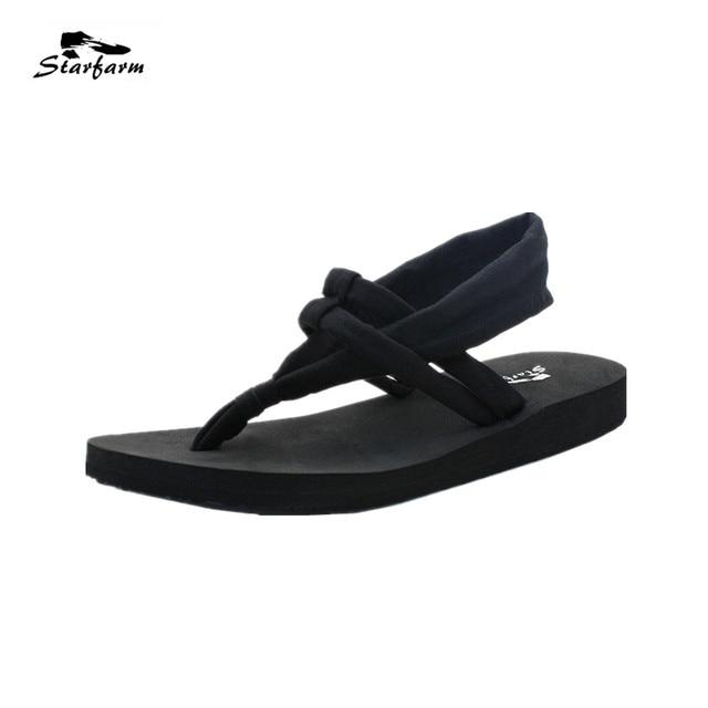 aa55d2a26 STARFARM Yoga Slings Beach Flip Flops Women Shoes Woman Casual Flats Sandals  Elastic Strap EVA Wedges Slides Back Strap Shoes