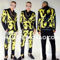 Hot 2017 new male singer DJ nightclub guests black gold dragon robe suits men's fashion jacket and coats performance Blazers