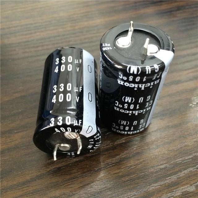 2pcs 330 미크로포맷 400V NICHICON GU 시리즈 25x40mm 고품질 400V330uF 스냅인 PSU 알루미늄 전해 콘덴서