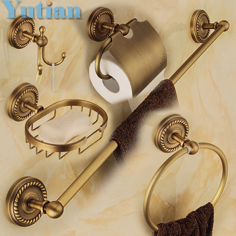 Free shipping,solid brass Bathroom Accessories Set,Robe hook,Paper Holder,Towel Bar,Soap basket,bathroom sets,YT-12200-5 free shipping european style brass antique soap dish solid brass bathroom soap holder soap basket bathroom accessories shelf
