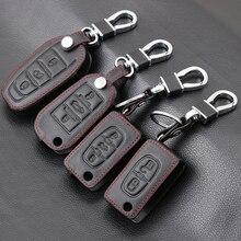 Funda de cuero auténtico para llave de coche, para Peugeot 107, 206, 207, 208, 306, 307, 308, 407, 408, RCZ, para Citroen C2, C3, C4, C5