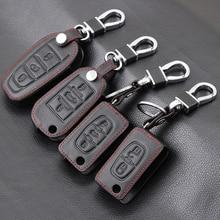 Genuine Leather Car Key Case Cover For Peugeot 107 206 207 208 306 307 308 407 408 508 RCZ For Citroen C2 C3 C4 C5 Good key bag