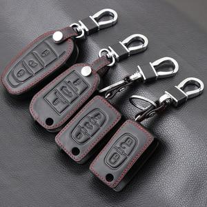 Image 1 - Genuine Leather Car Key Case Cover For Peugeot 107 206 207 208 306 307 308 407 408 508 RCZ For Citroen C2 C3 C4 C5 Good key bag