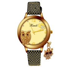 купить New 2019 Gold Watch Women Luxury Brand Crystal Owl Leather Wrist Watches Ladies Elegant Quartz Watch Clock horloges vrouwen дешево
