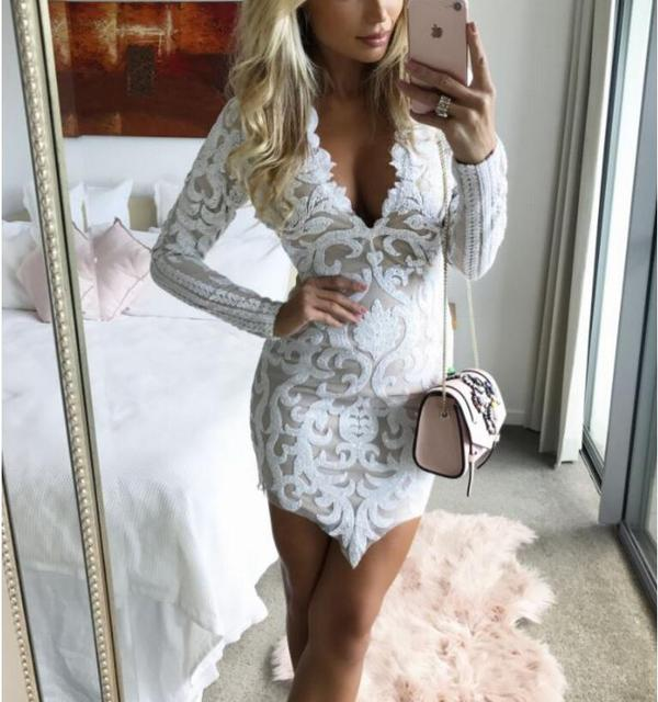 JOYINPARTY New lace dress with long sleeves spicy For women Mini Party wear robe 2017 Best seller