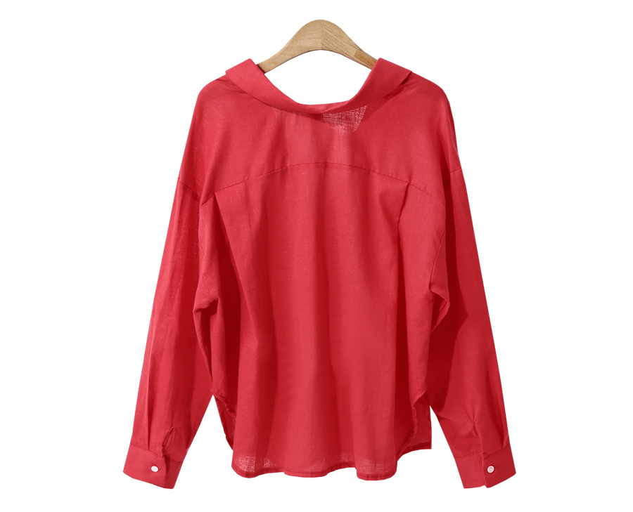 Loose Shirt Women Solid Turn-down Collar Single-Breasted Long Sleeve Top Women Blouse Thin White Red blusas femininas T86593
