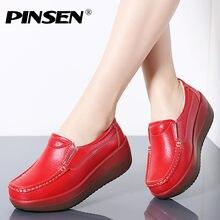 8774361d1d PINSEN 2019 Outono Mulheres Planas Mocassins Plataforma Senhoras Sapatos de  Couro Genuíno Slip-on Sapatos Casuais Mulher Flats M..