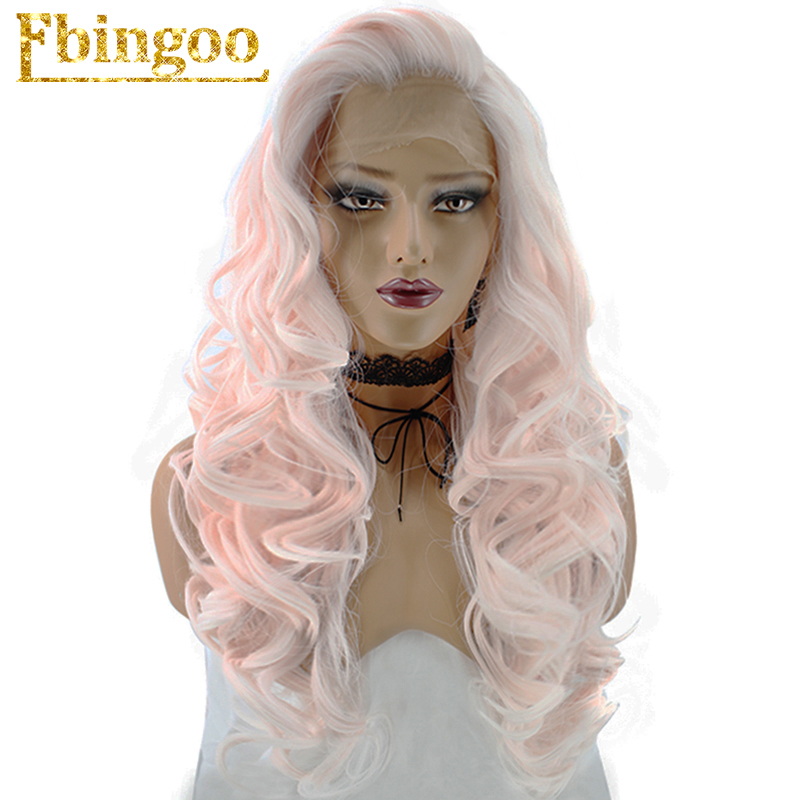Ebingoo High Temperature Fiber Peruca 360 Frontal Long Body Wave Fluffy Pink Synthetic Lace Front Wig