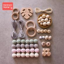 Mamihome 1set Baby Wooden Teether Beech Pacifier Pendant Crochet Beads Diy Nursing Bracelets Rodent Ring BPA Free Teething Toys