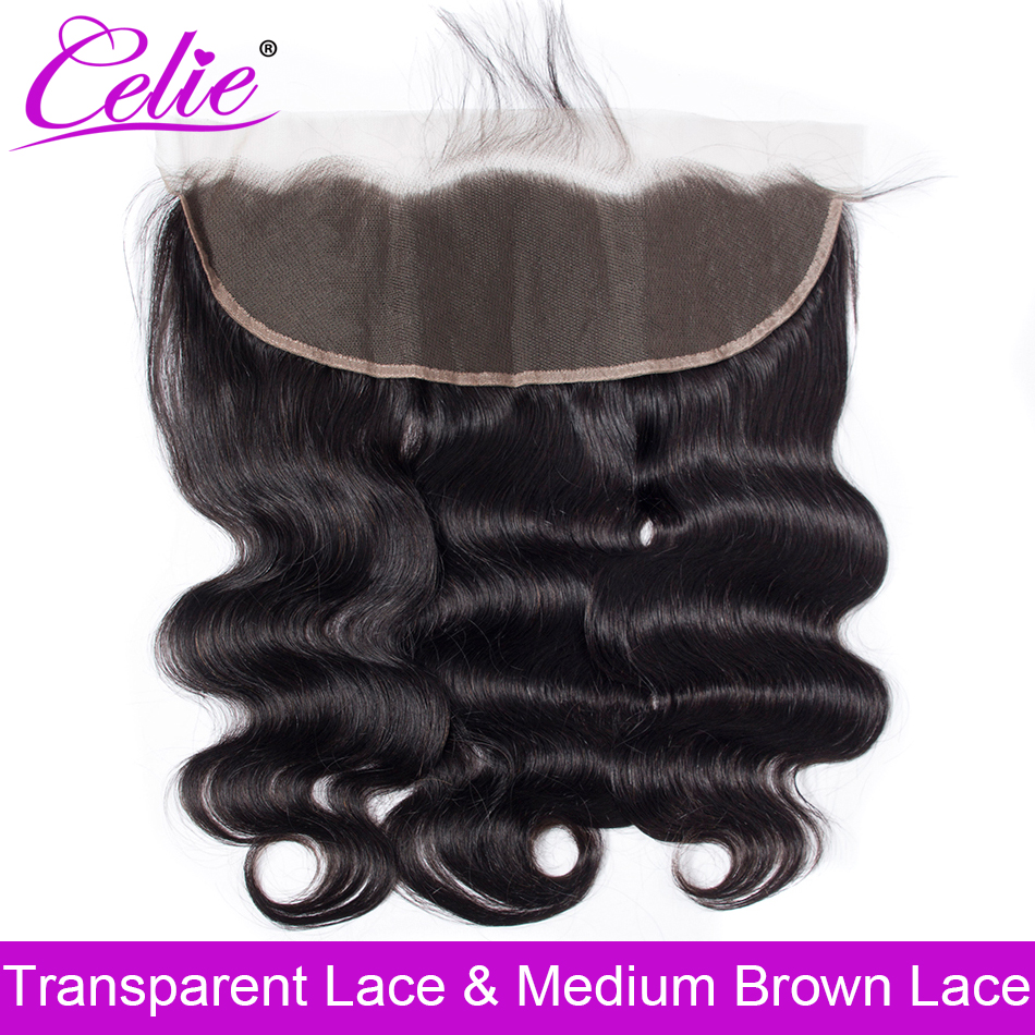 Celie Brazilian Body Wave HD Transparent Lace Frontal Closure With Baby Hair Ear to Ear Human