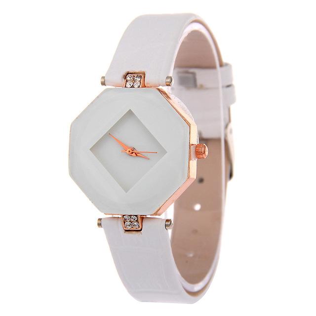 MINHIN Luxury Dress Watch For Women Shinning Gem Rhinestone Geometric Dial Quartz Wristwatches Temperament Gift Watches