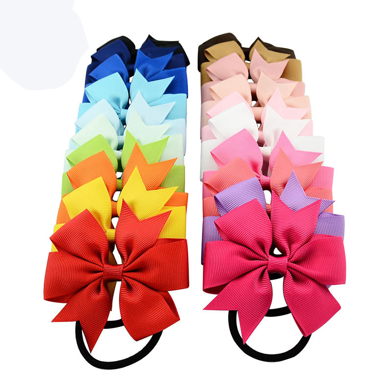 10 шт./лот с милым бантом для девочек повязка на голову с бантом из ленты эластичные веревочные обручи для волос Головные уборы аксессуары для волос