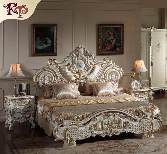 2016 venta Caliente rey tamaño de cama para hotel y restaurante-madera maciza barroco dorado hoja de cama cama de matrimonio