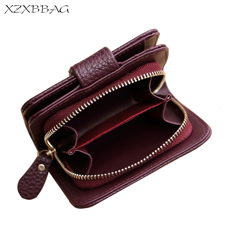 XZXBBAG Fashion PU Leather Litchi Grain Women Wallet Female Short Coin Purse Students Zipper Hasp Money Bag Organizer Wallet xzxbbag fashion female zipper big capacity wallet multiple card holder coin purse lady money bag woman multifunction handbag