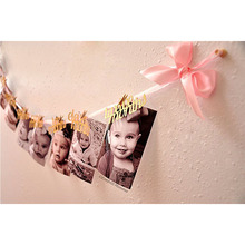 12pcs/set 12 Months Photo Banner Baby Girl Boy Letter First Birthday Party  Decorations Frame Home Decor