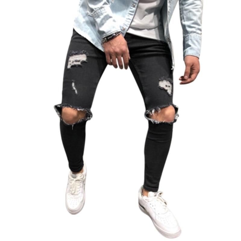 Fashion Streetwear Men'S   Jeans   Knee Hole Ripped   Jeans   Distressed Denim Skinny Pants Elastic   Jeans   Men Pants