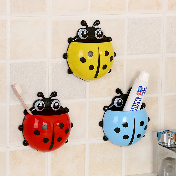 Kawaii Cartoon Ladybug Toothbrush Holder Bathroom Shelve Wall Mounted Type Toothpaste Rack Wash Supplies Storage Rack Organizers