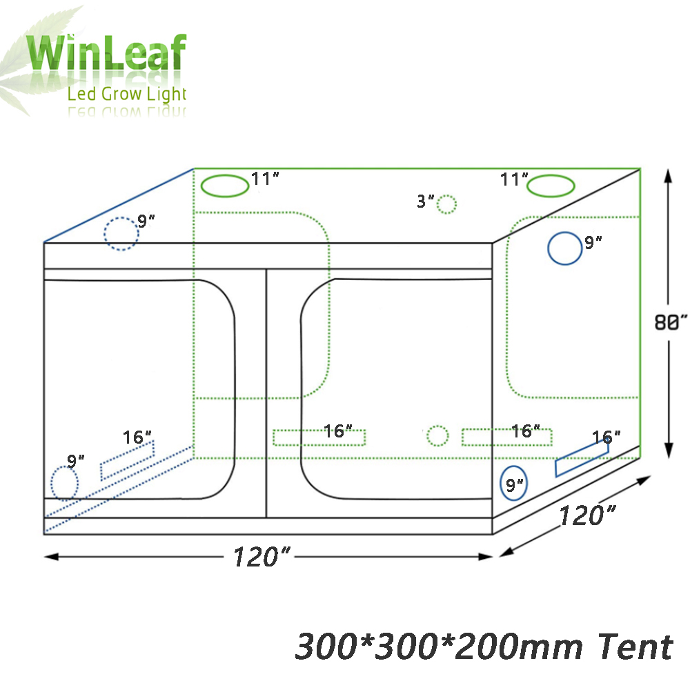 grow tent indoor Hydroponic greenhouse 300*300*200 mm Room Box Plant Growing, Reflective Mylar Non Toxic Garden Greenhouses